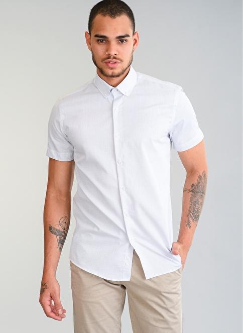 People By Fabrika Kendinden Desenli Gömlek Beyaz